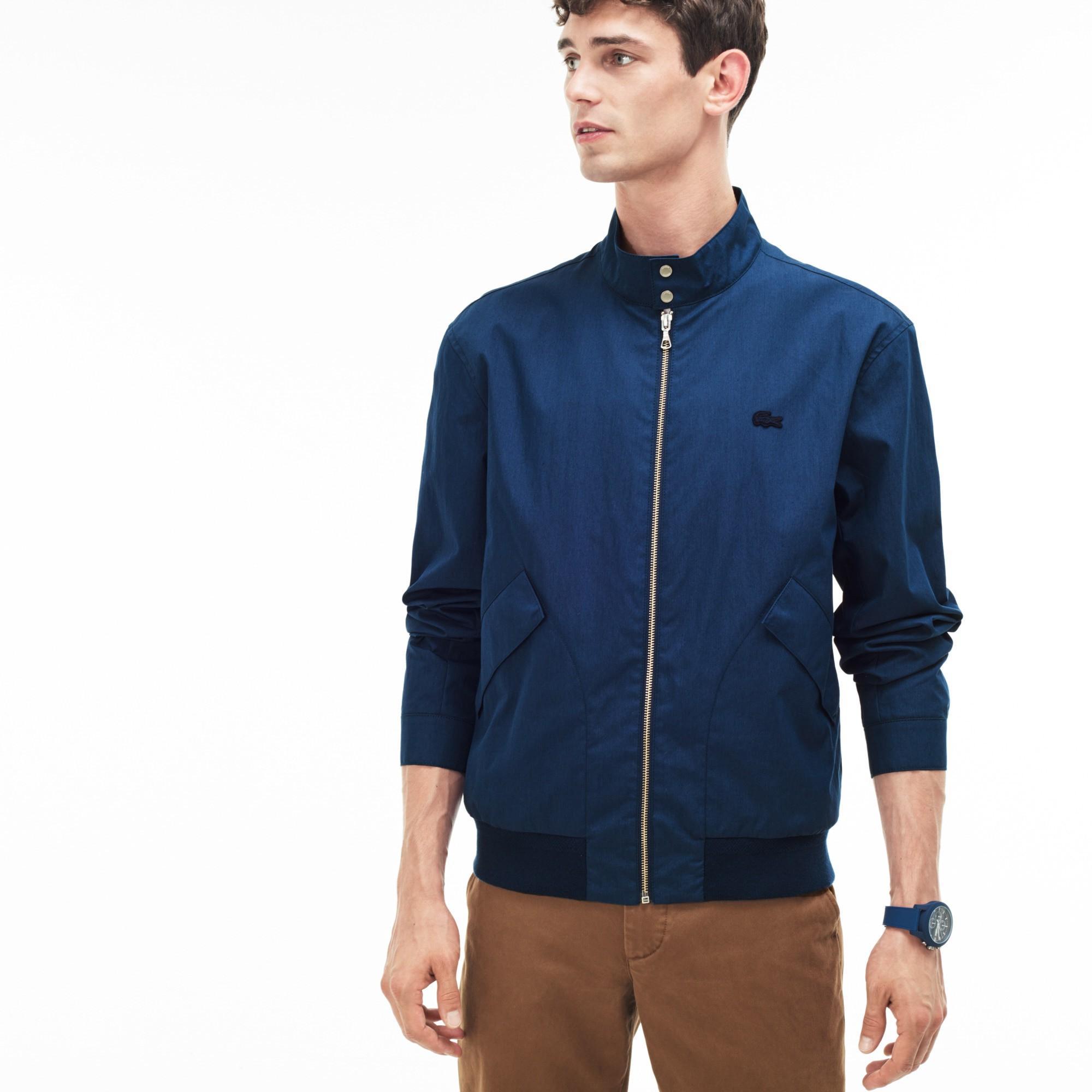 2e39f4025 Lacoste Men s Cotton Blend Gabardine Harrington Jacket In Navy Blue ...