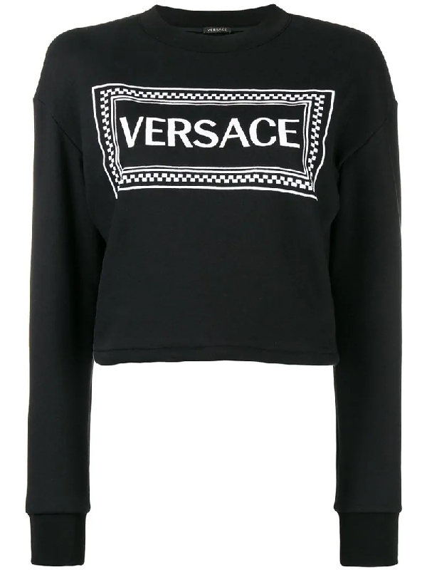 ea8f2aa198b843 Versace Cropped Logo Printed Cotton Sweatshirt In Black | ModeSens