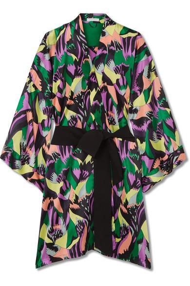 Olivia Von Halle Mimi Printed Silk-Satin Robe In Black