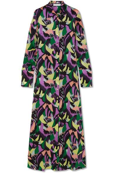 Olivia Von Halle Hero Printed Silk-Satin Maxi Dress In Purple