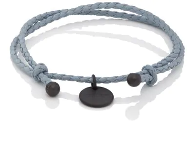 7b4d08ed44b309 Bottega Veneta Intrecciato Leather Double-Band Bracelet - Gray ...