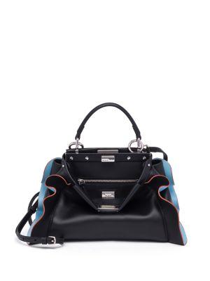 a7af0c187d Fendi Peekaboo Mini Wave Leather Satchel Bag