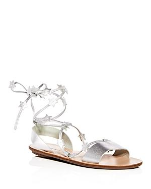 Leather Sandals Tie Randall Women's Silver Starla Ankle Loeffler In SLUzVjpqMG