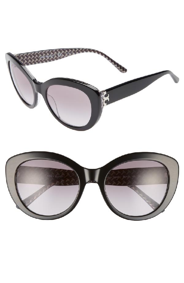 38b1abf43884 Tory Burch Serif T 55Mm Cat Eye Sunglasses - Black   ModeSens