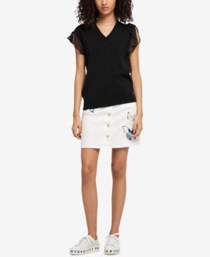 Dkny Mesh-Yoke Ruffle-Sleeve Sweater, Created For Macy's In Black