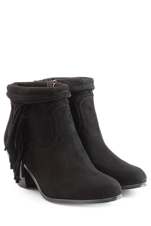 Sam Edelman Suede Ankle Boots With Fringe In Beige