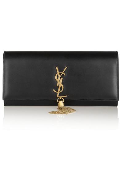 2cb80a4fd97 Saint Laurent Kate Monogram Ysl Full-Flap Clutch Bag In Black