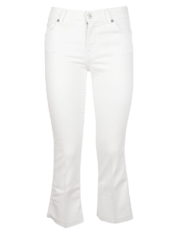 7 For All Mankind Flared Jeans In Bianco
