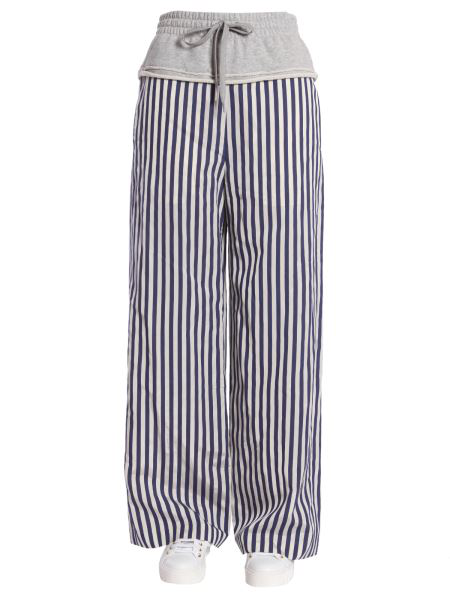 T By Alexander Wang Striped Wide Leg Trousers In Multicolour