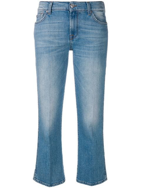 7 For All Mankind Cropped Flared Jeans In Blue
