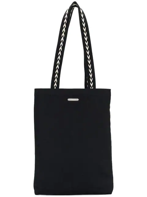 Saint Laurent Chevron-Handle Canvas Tote In Black