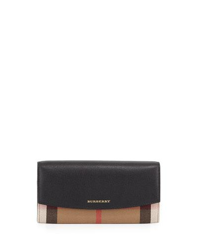 Burberry Porter Horseferry Check Leather Flap Wallet, Black