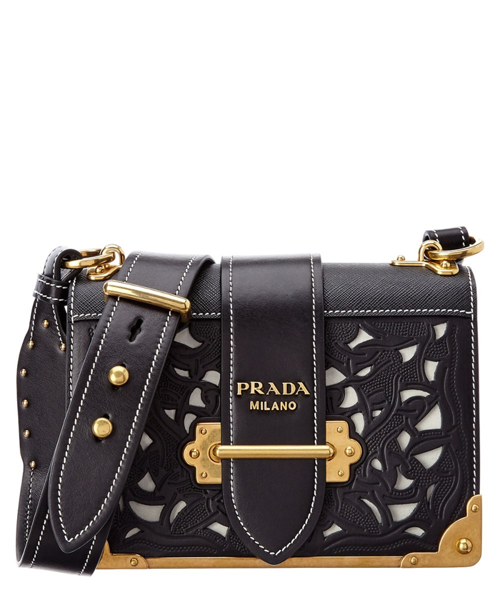8eed896f959d Prada Cahier Perforated Leather Shoulder Bag' In Black | ModeSens