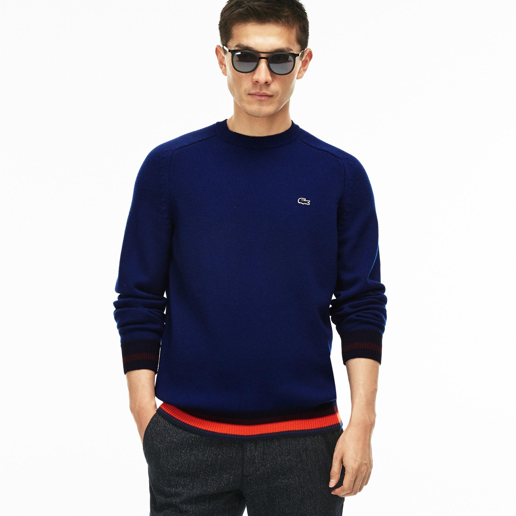 7d41d1af961c Lacoste Men s Crew Neck Wool Jersey Sweater With Striped Accents In Navy  Blue   White