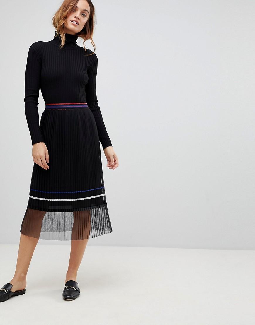 743721b87 Sisley Paris Pleat Midi Skirt With Sheer Panel - Black   ModeSens