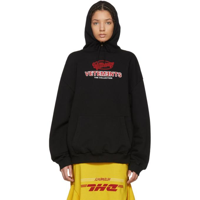 05ea280f938ba Vetements Black Graphic Logo Oversized Hoodie