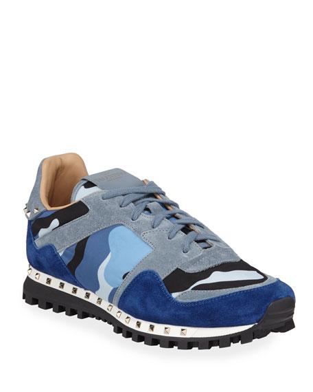 b71119428b59e Valentino Men's Rockrunner Camo Trainer Sneakers In Blue   ModeSens