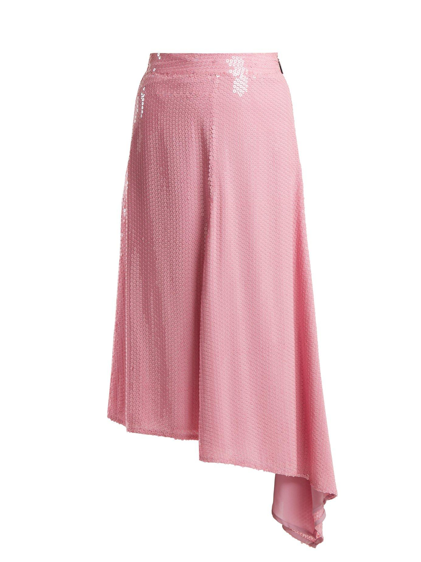 a3c5f3c624 Msgm - Sequin Embellished Asymmetric Midi Skirt - Womens - Pink ...