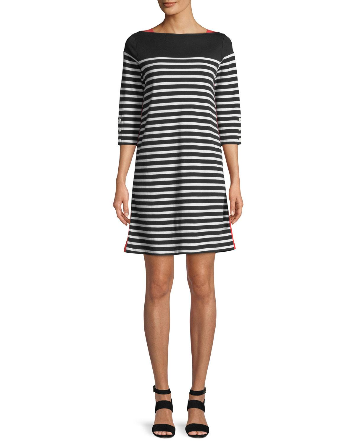 Plus Size Colorblock Striped 3/4-Sleeve Dress in Black/White