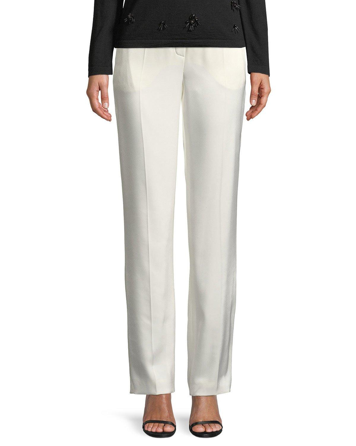Escada Eve Straight-Leg Satin Pants In Off White