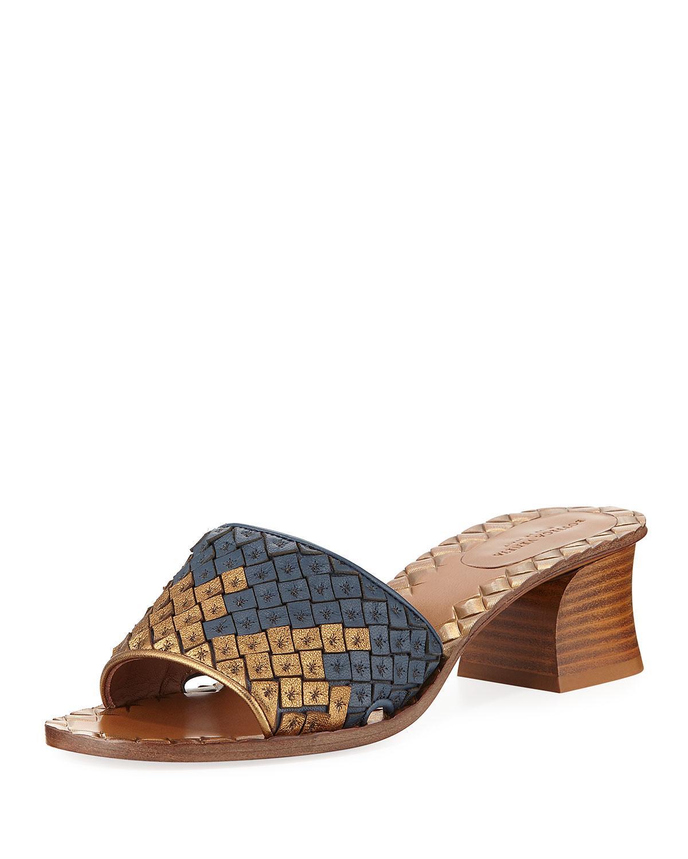 Intrecciato Woven Band Slide Sandal in Oro Antico-Denim