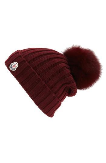 020bdd12a19 Moncler Genuine Fox Fur Pom Wool Beanie - Burgundy