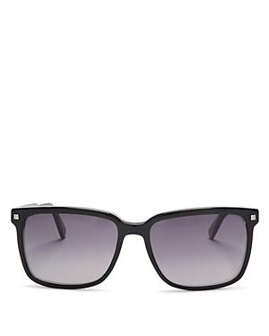 Ermenegildo Zegna Crystal Square Sunglasses, 56mm In Black/smoke