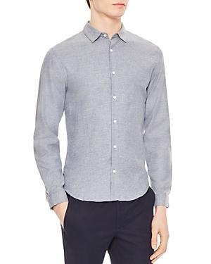Sandro Supra Slim Fit Button-down Shirt In Bluish Green