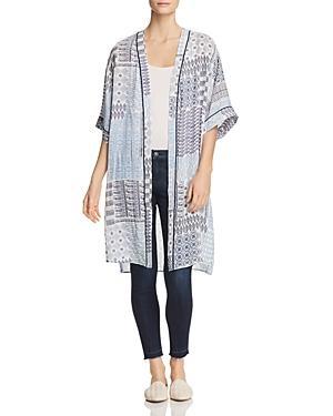 Daniel Rainn Floral-print Duster Kimono Jacket In Teal