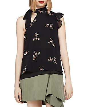 Bcbgeneration Floral One-shoulder Tie-neck Top In Black/multi