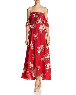 Band Of Gypsies Off-the-shoulder Floral-print Midi Dress - 100% Exclusive In Red Navy