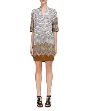 Whistles Luna Aztec Print Dress In Gold/multi