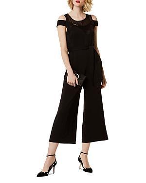Karen Millen Lace-inset Cowl-back Jumpsuit In Black