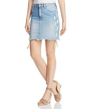 Mavi Frida Lace-up Denim Skirt In Light Summer Lace
