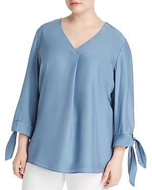 Lafayette 148 New York Plus Blair Silk Blouse In Placid Blue