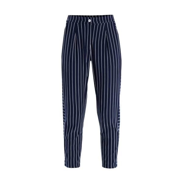 Paisie Striped Jersey Trousers With Side Panel Detail In Navy & White
