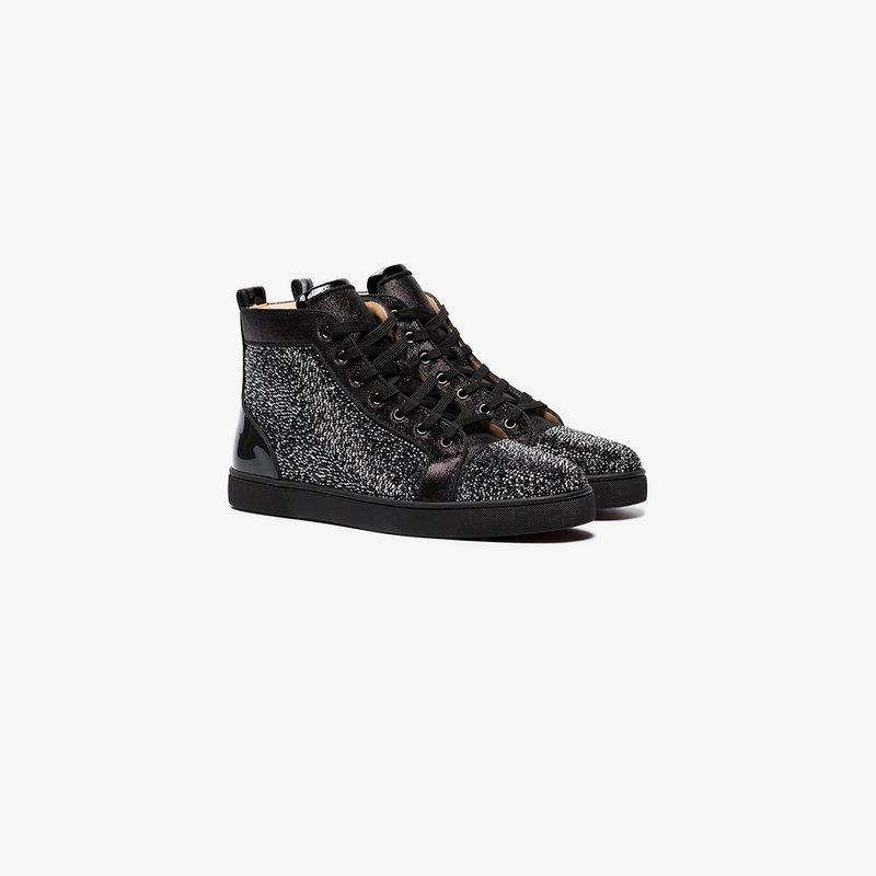 Christian Louboutin Black Louis Strass Crystal Sneakers