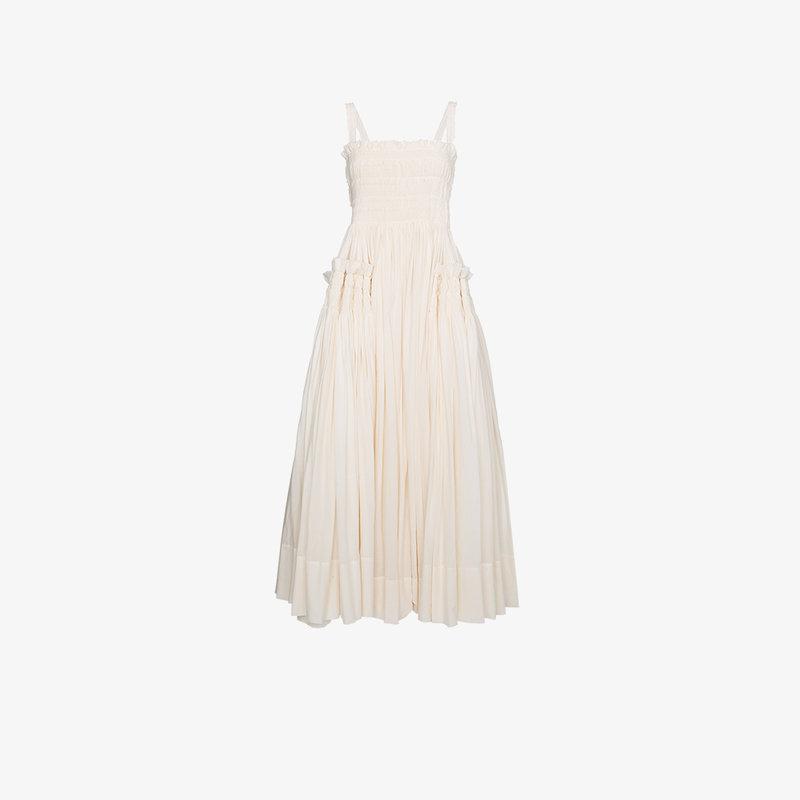 Molly Goddard Larry Smock Dress In White