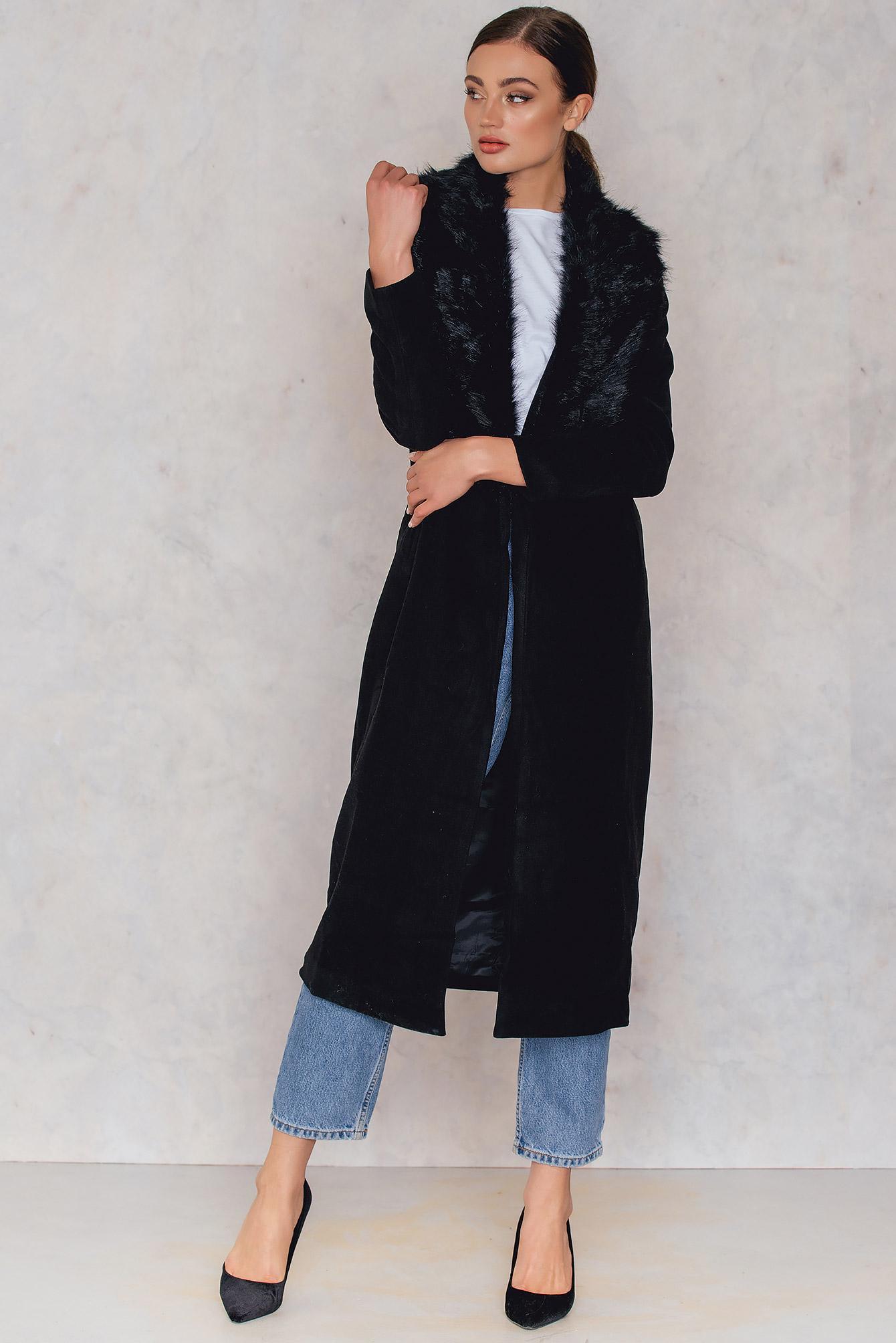 Glamorous Maxi Coat With Faux Collar - Black