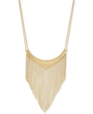 Bcbgeneration Gold-tone Double Chain Fringe Statement Necklace