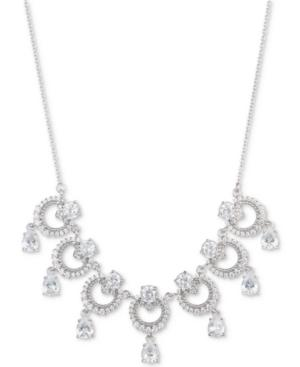"""Marchesa Silver-tone Cubic Zirconia Link Statement Necklace, 16"""" + 3"""" Extender, Created For Macy's In Rhodium"""