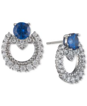 Marchesa Silver-tone Cubic Zirconia Link Button Earrings, Created For Macy's In Saphire