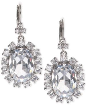 Marchesa Silver-tone Cubic Zirconia Halo Oval Drop Earrings, Created For Macy's In Rhodium