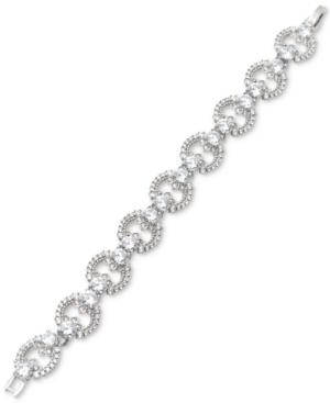 Marchesa Silver-tone Cubic Zirconia Link Bracelet, Created For Macy's In Rhodium