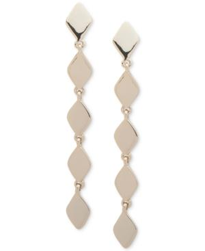 Dkny Gold-tone Sculptural Linear Drop Earrings, Created For Macy's