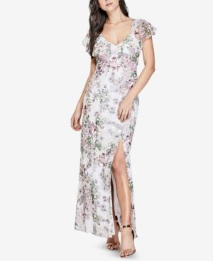 Guess Loyola Floral Print Maxi Dress In Inked Garden Brilliant White