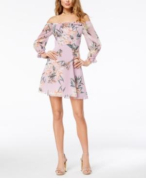 Guess Printed Off-the-shoulder Dress In Tropic Iris Lavender