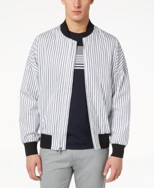 Calvin Klein Men's Oversized Striped Bomber Jacket In White