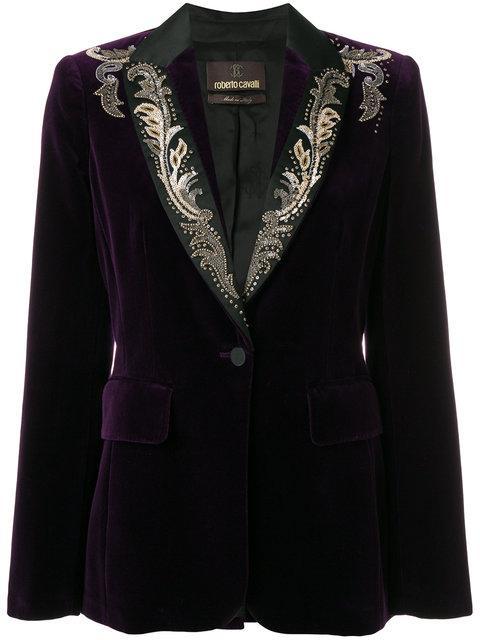 Roberto Cavalli Embroidered Velvet Blazer - Purple In Pink & Purple
