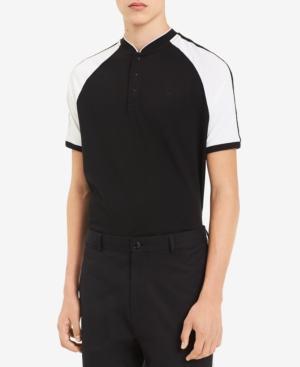 Calvin Klein Men's Colorblocked Raglan-sleeve Crewneck Polo In Black